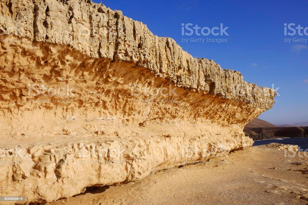 Pathway along basalt rock in Ajuy, Fuerteventura. stock photo