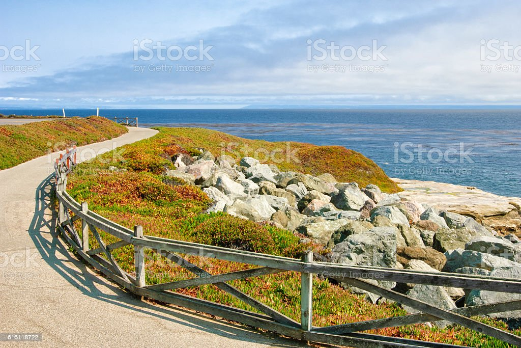 Pathway Along Pacific Ocean stock photo