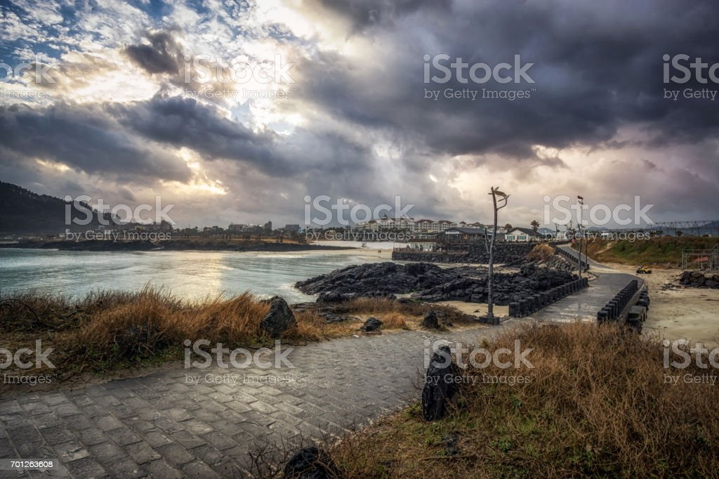 pathway along the Hamdeok Seoubong beach stock photo