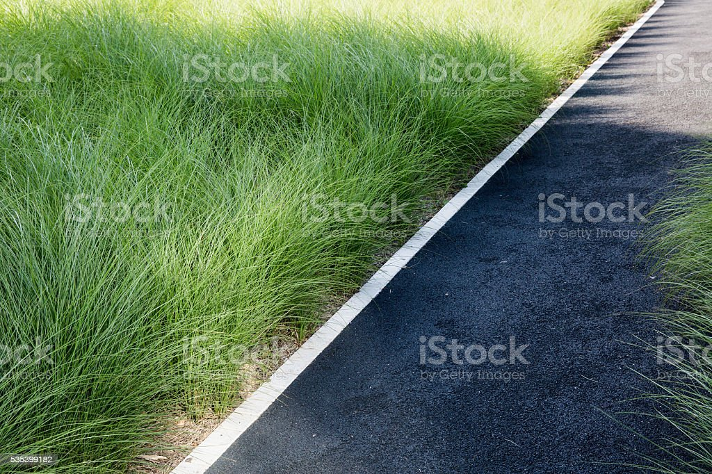 pathway and green grass stock photo