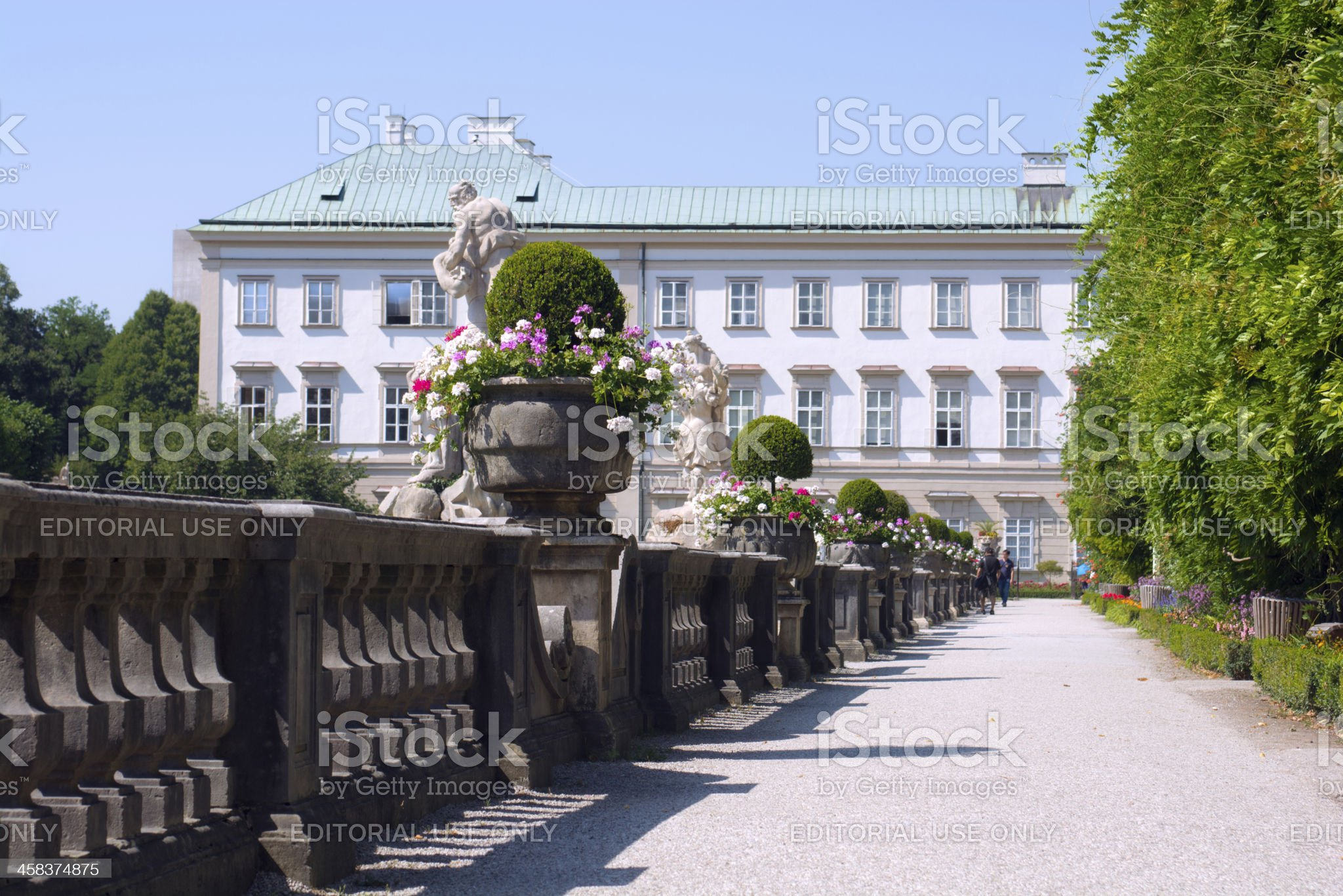 Pathway at Mirabell Palace and gardens in Salzburg, Austria royalty-free stock photo