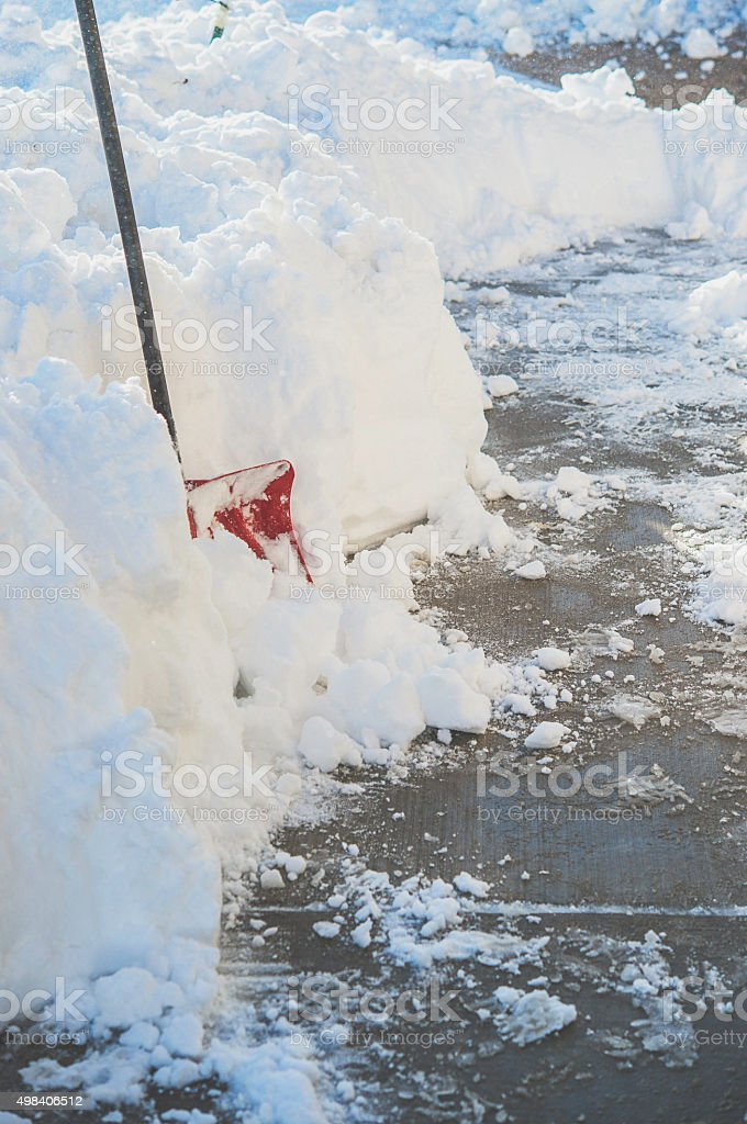 Pathway cleared of snow after winter snowfall. Colorado, USA stock photo