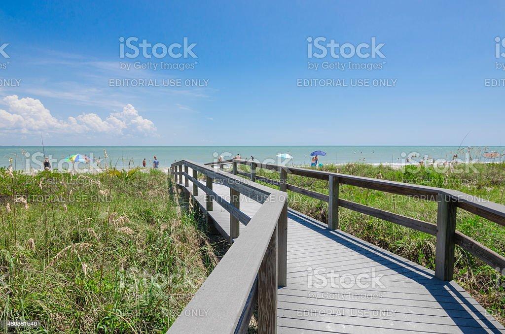 Pathway leading to beach overlooking Gulf Sea stock photo