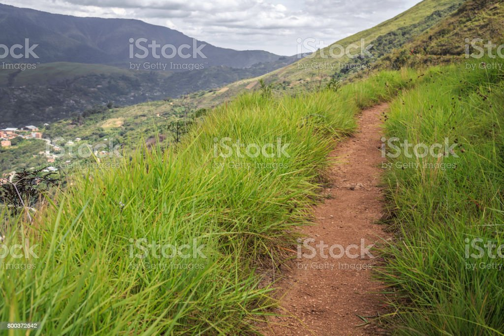 Pathway over the hills in los Yungas, Bolivia stock photo