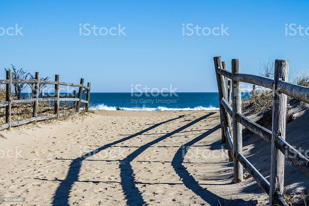Pathway to Beach Fencing at Sandbridge Beach in Virginia stock photo