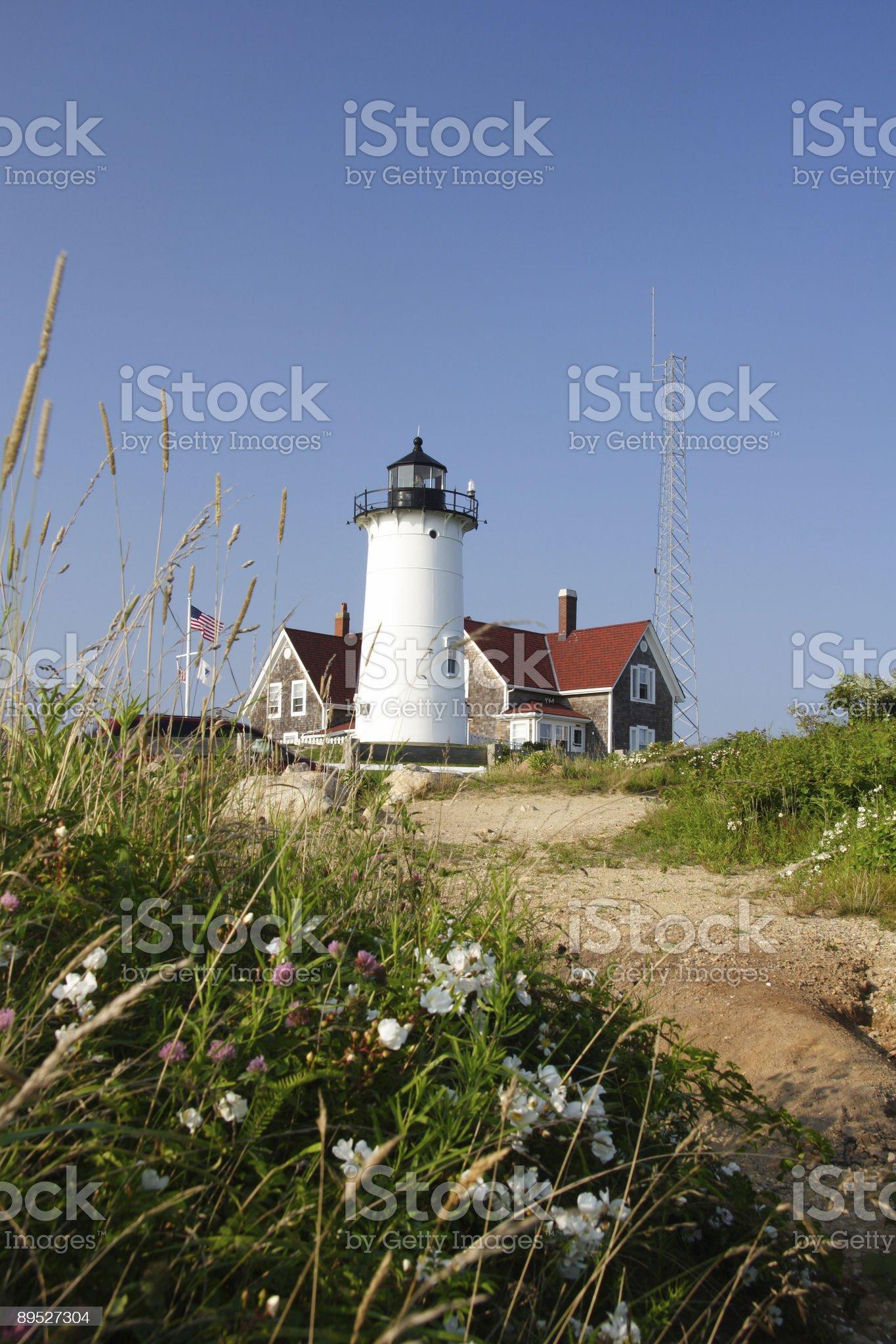 Pathway to Nobska lighthouse in Cape Cod, Massachusetts royalty-free stock photo