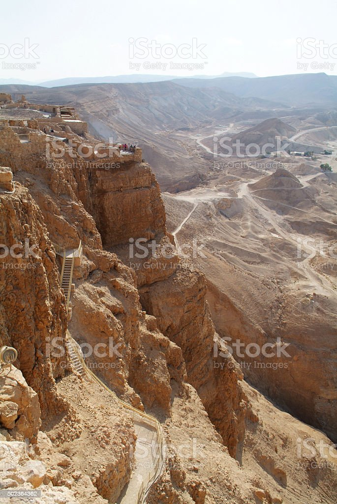 Pathway to the top of Masada National Park stock photo