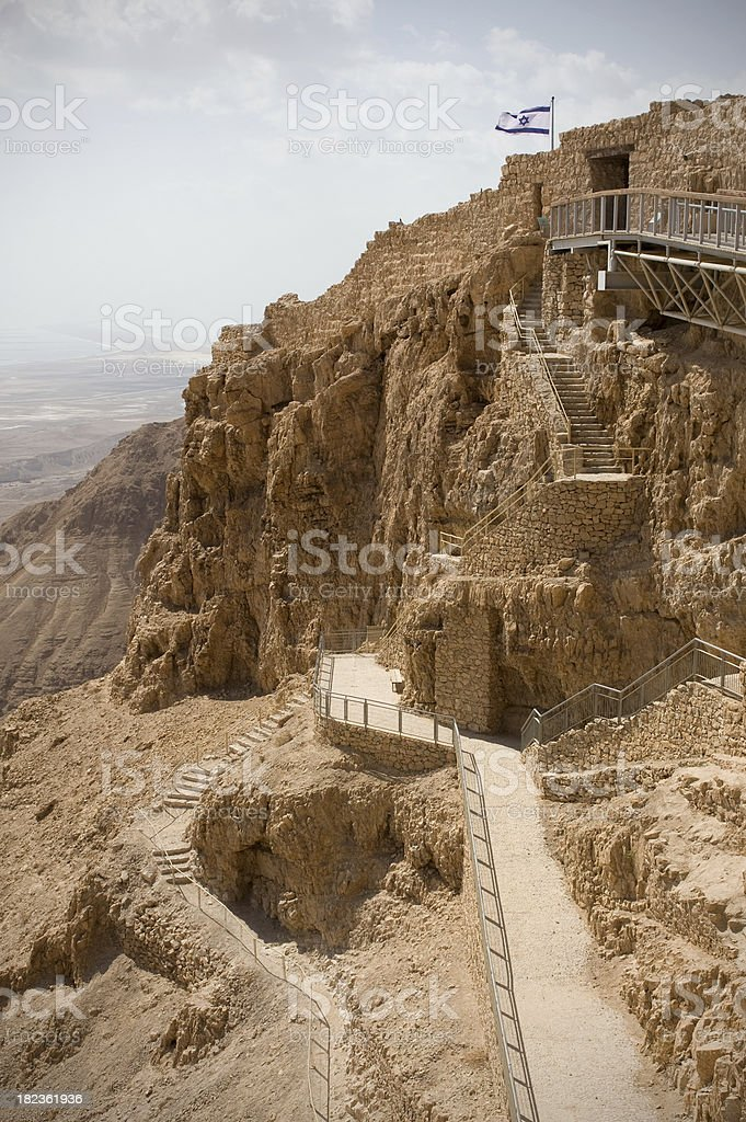 Pathway to the top of Masada stock photo