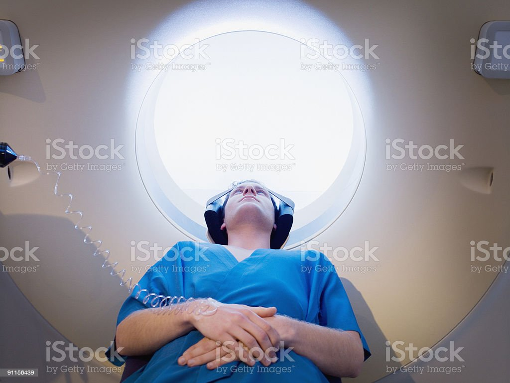 Patient about to have MRI examination stock photo