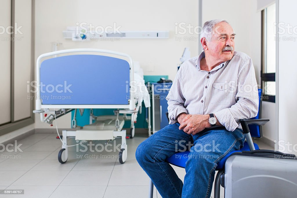 Patient about to leave hospital. stock photo