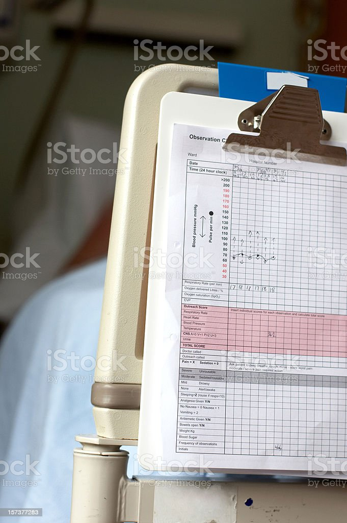 Patient chart with markings on bed end stock photo