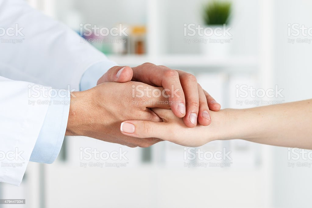 Patient cheering and support stock photo