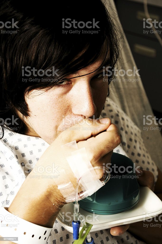 Patient Eating - Gritty stock photo