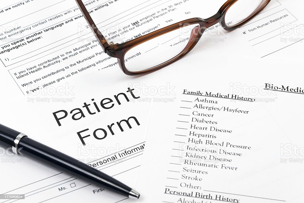 Patient Form stock photo