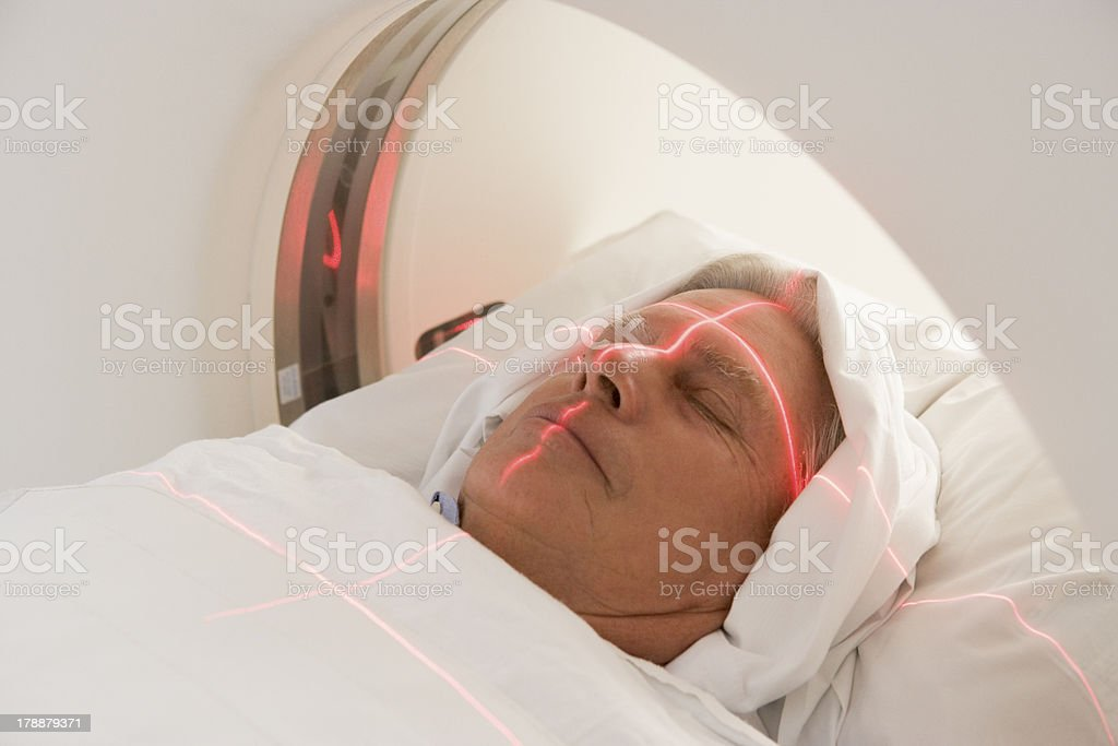 Patient Having A Computerized Axial Tomography (CAT) Scan stock photo