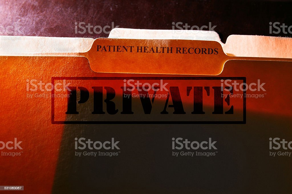 Patient Health Records folders stock photo