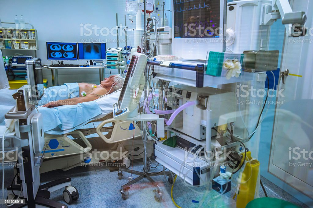 Patient in operating theatre stock photo