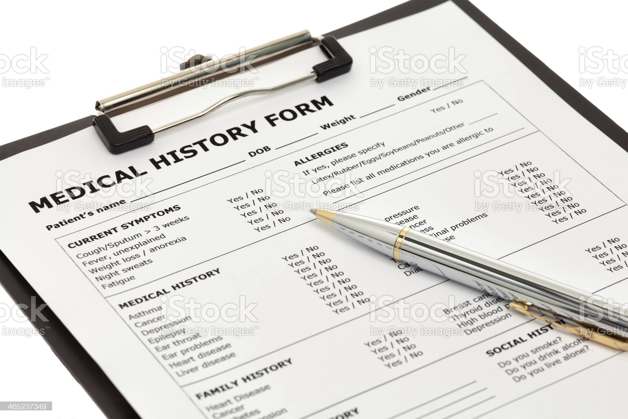Patient medical history form royalty-free stock photo