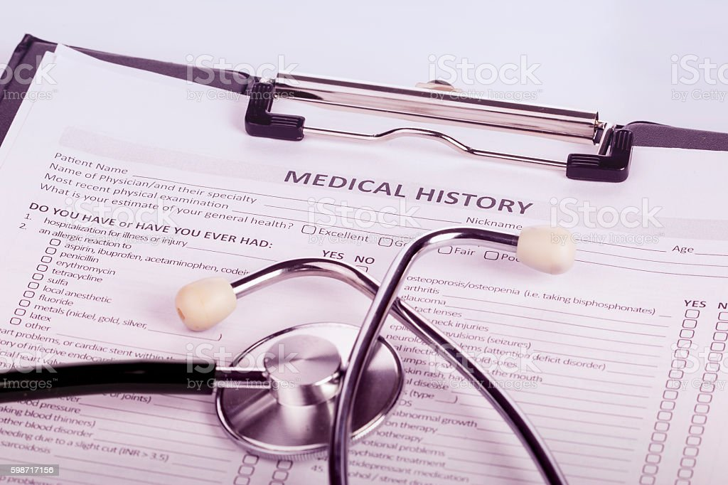 patient medical history stock photo