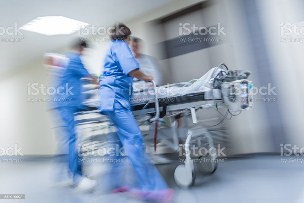 Patient on stretcher stock photo