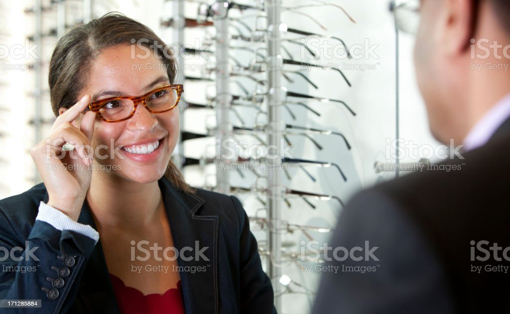 Patient pleased with her new glasses stock photo