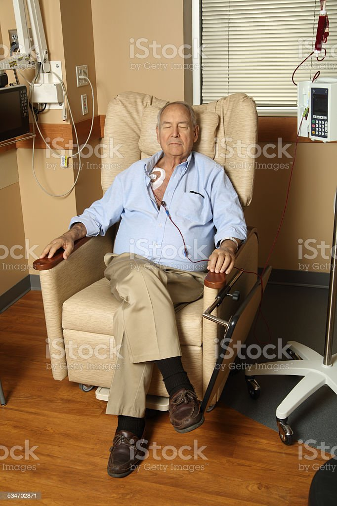 Patient Receiving Blood Transfusion stock photo