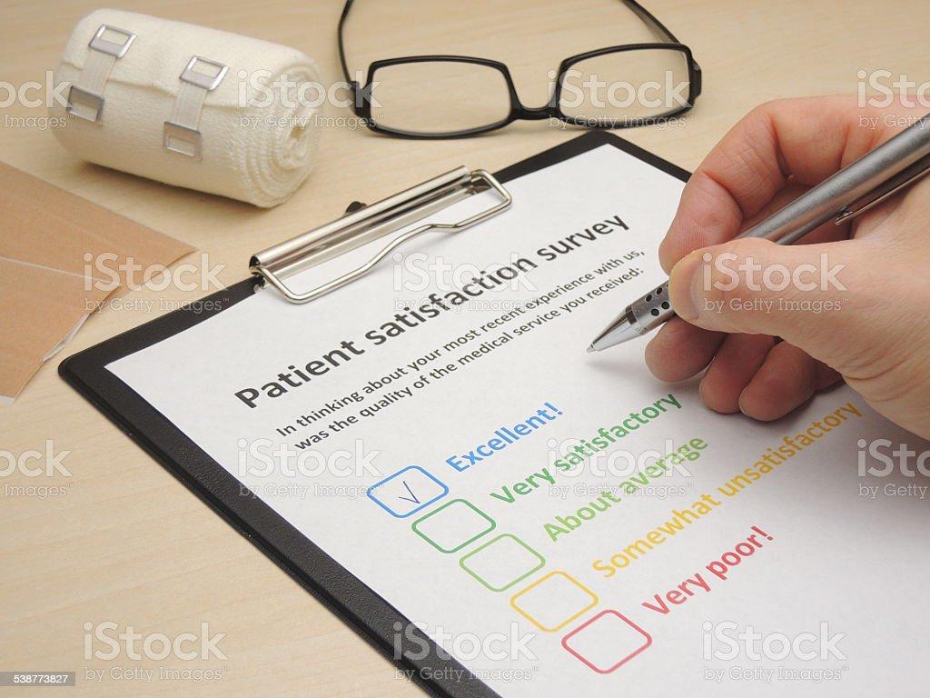 Patient satisfaction survey - excellent stock photo