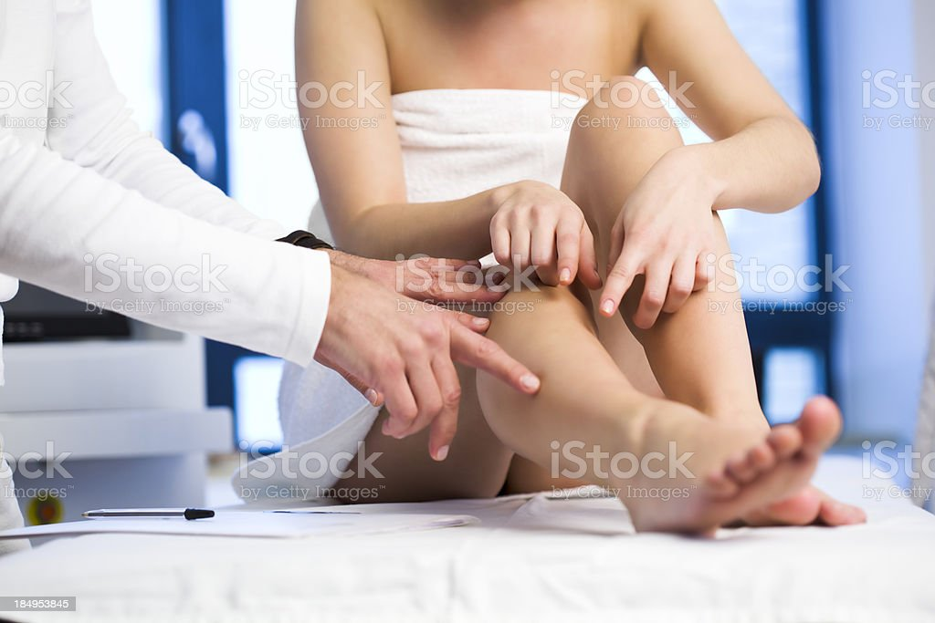Patient showing Cosmetologist Problem Area on Her Leg stock photo