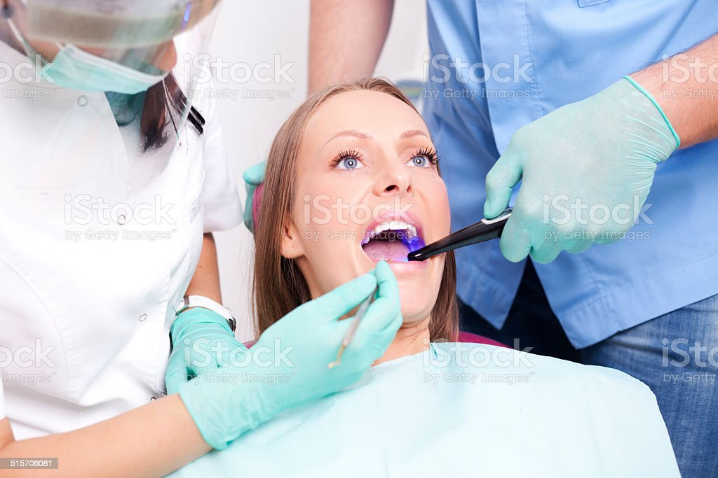 Patient visiting dentist stock photo