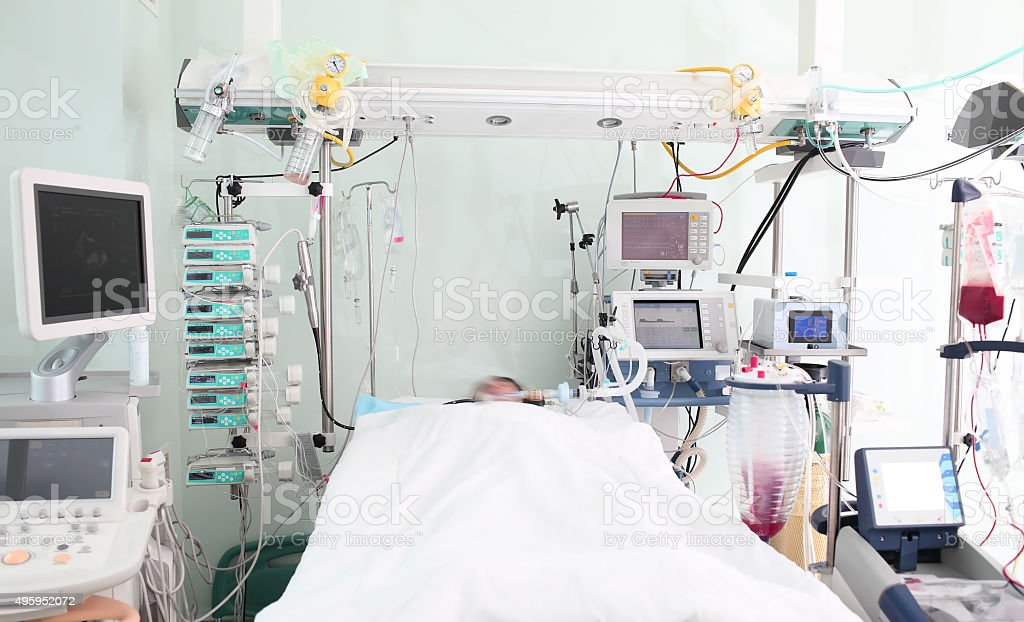 Patient ward of intensive care unit stock photo