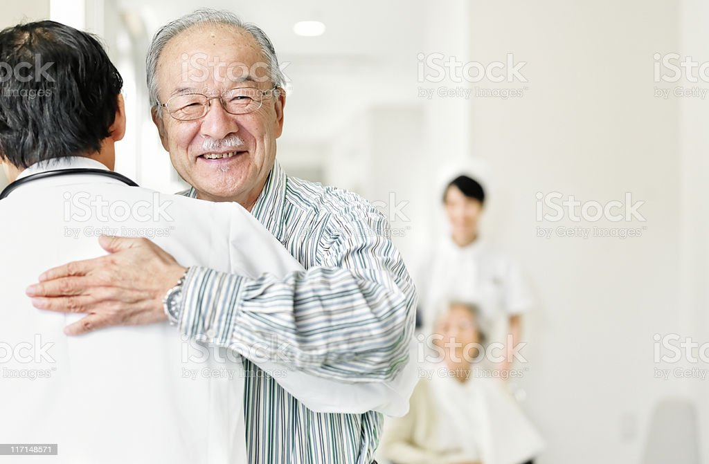 Patient who thanks his doctor stock photo