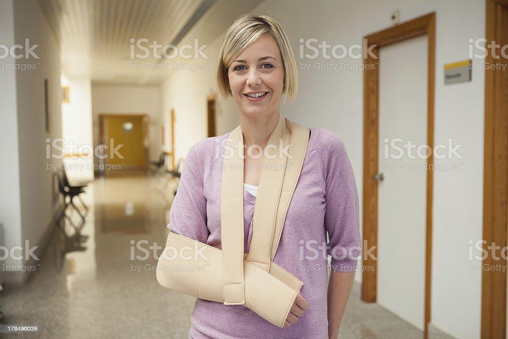 Patient with broken arm stock photo