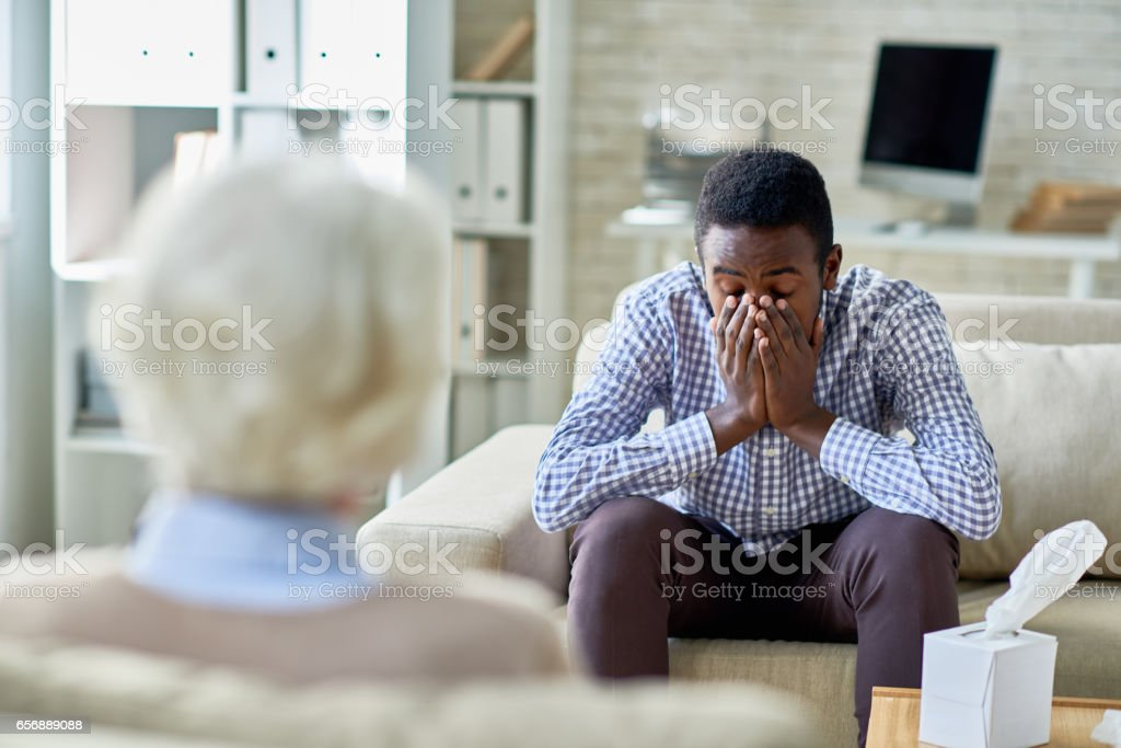 Patient with post-traumatic stress disorder stock photo