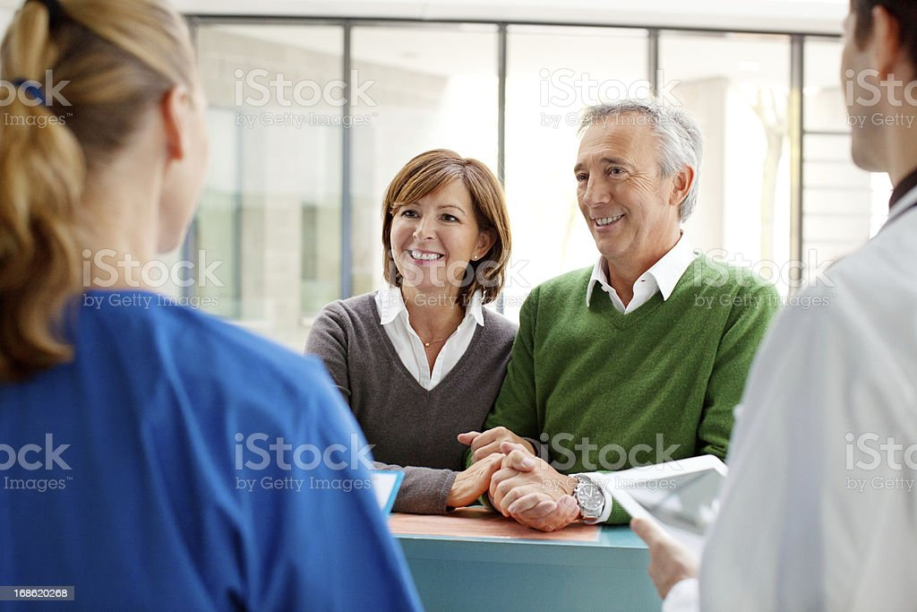 Patients at the reception of a hospital stock photo