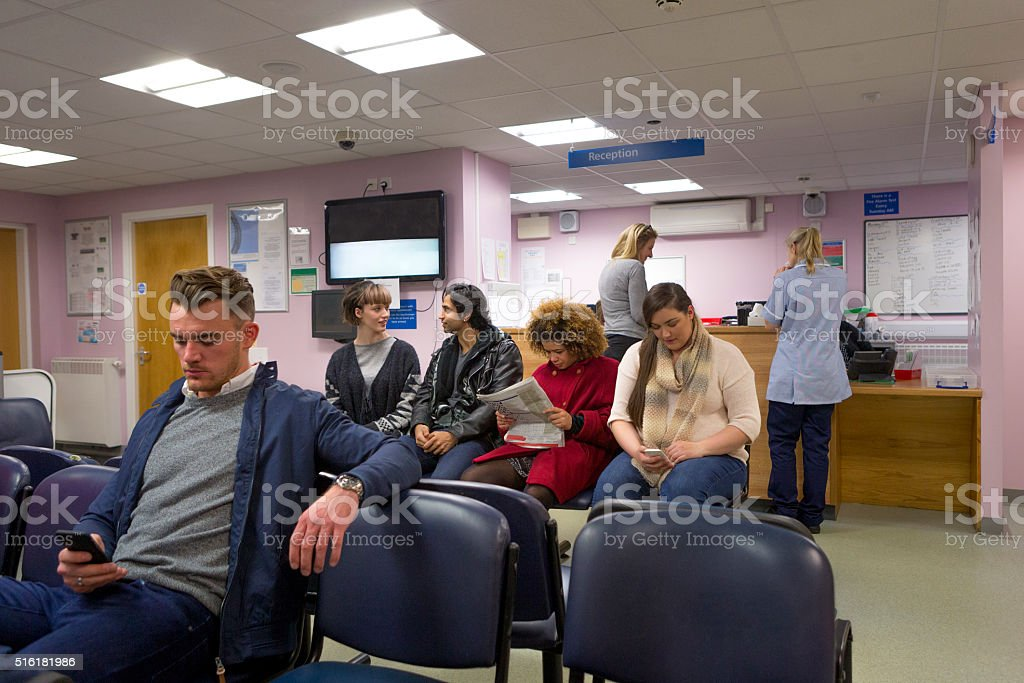 Patients in a Waiting room stock photo