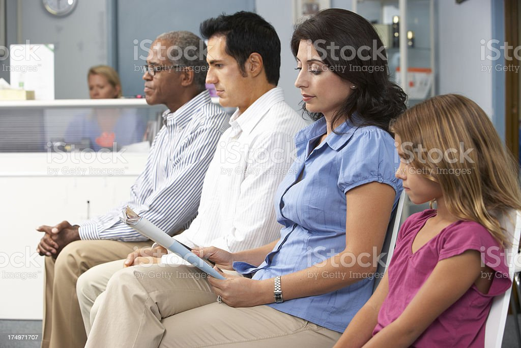 Patients In Doctors Waiting Room stock photo