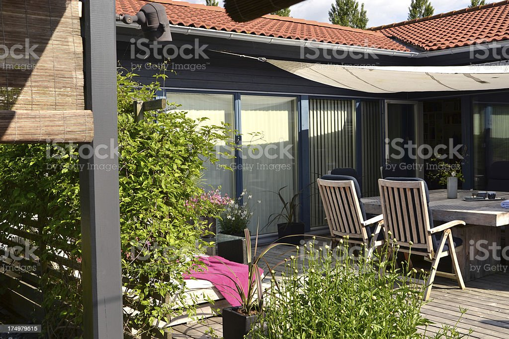 Patio and an outdoor dining area stock photo