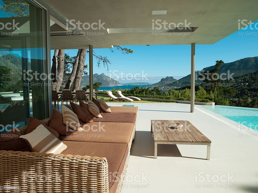 Patio and infinity swimming pool of modern home stock photo