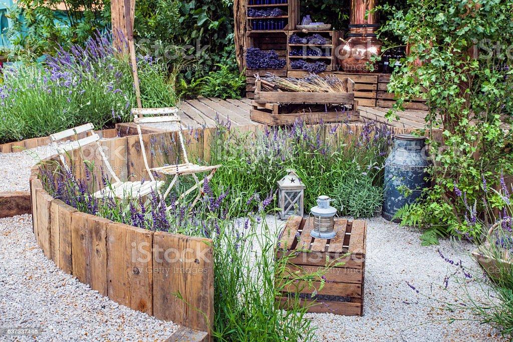 Patio area in a garden stock photo