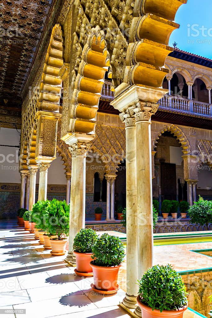 Patio de las Doncellas in Alcazar of Seville stock photo