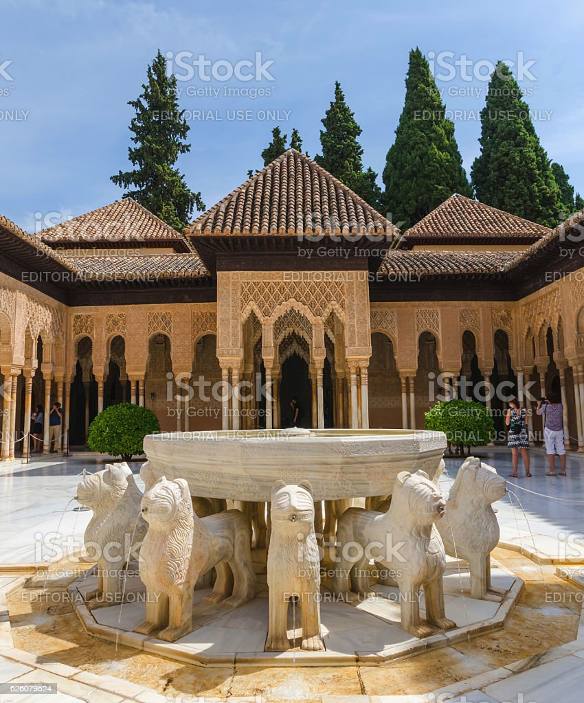 Patio de los leones in alhambra granada stock photo