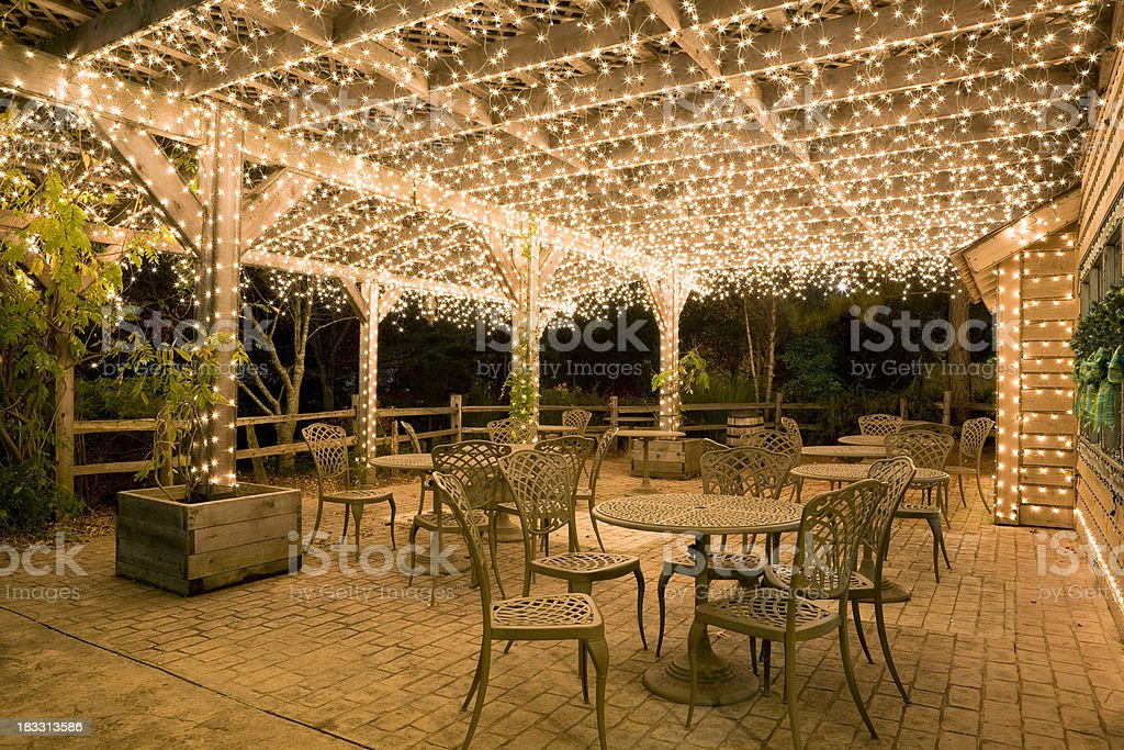 Patio dressed for Christmas stock photo
