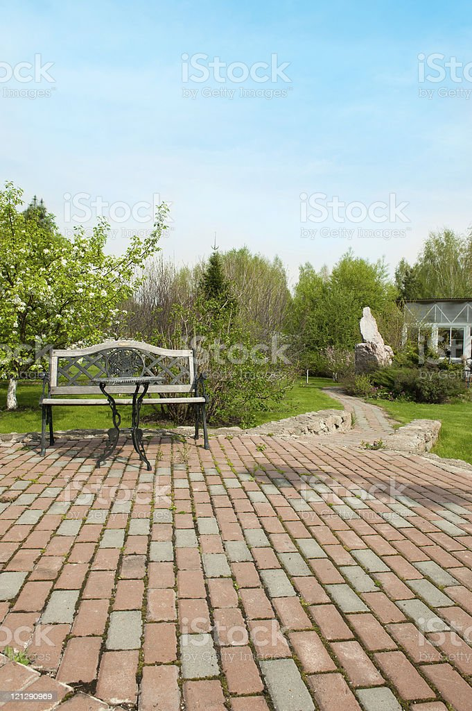 Patio furniture in the garden royalty-free stock photo