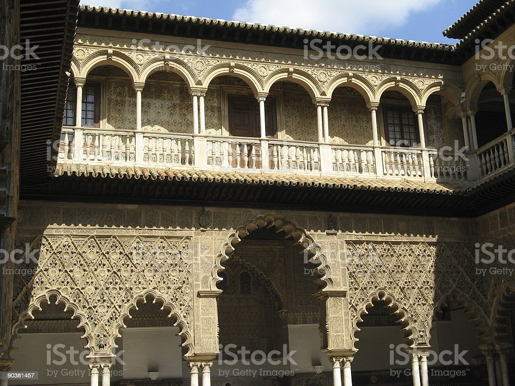 Patio in Alcazar Sevilla royalty-free stock photo