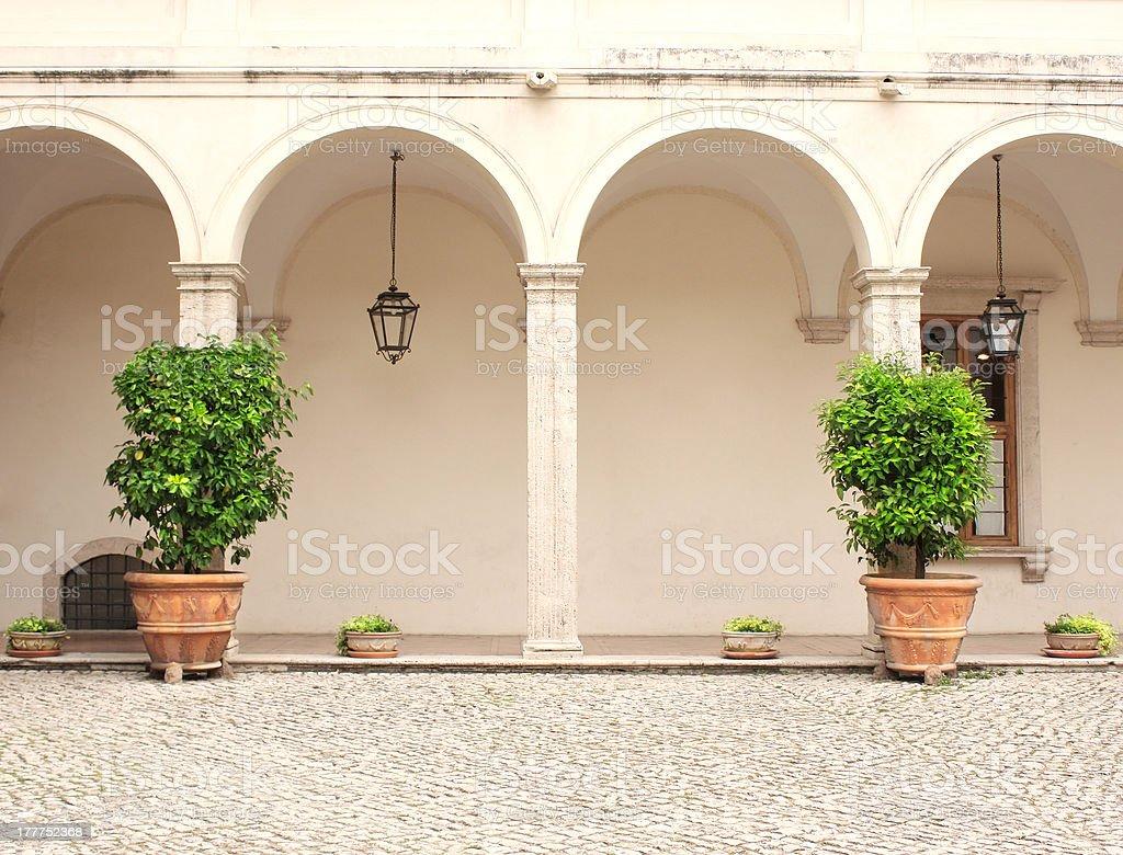 Patio in Gardens of Villa d'Este royalty-free stock photo