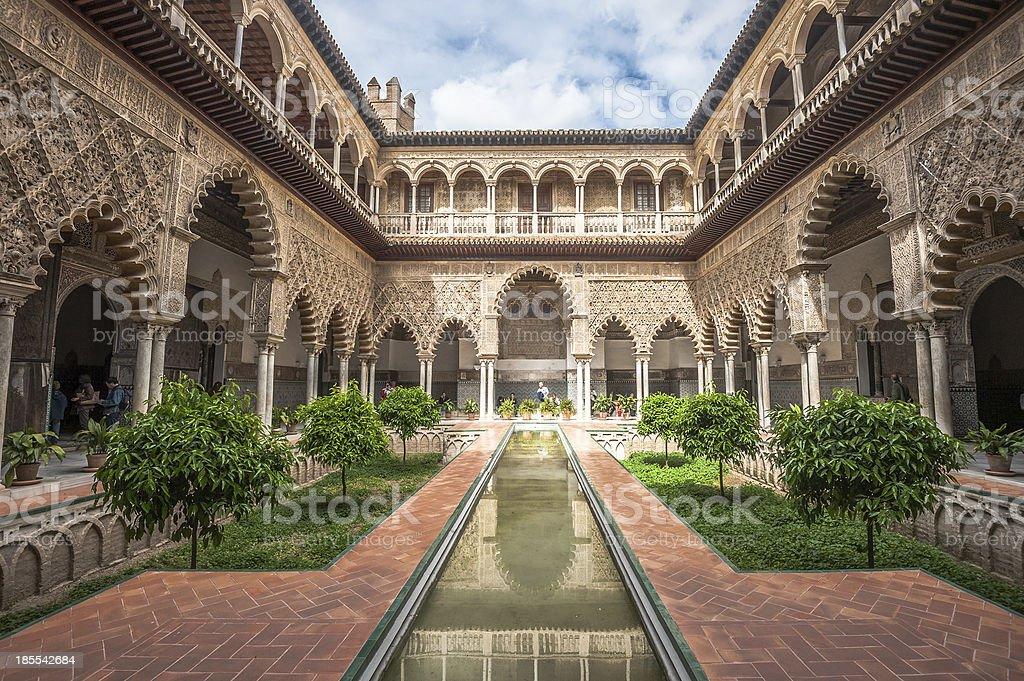Patio in Royal Alcazars of Seville, Spain royalty-free stock photo