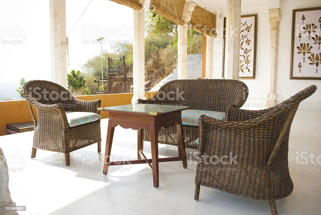 patio of a resort stock photo