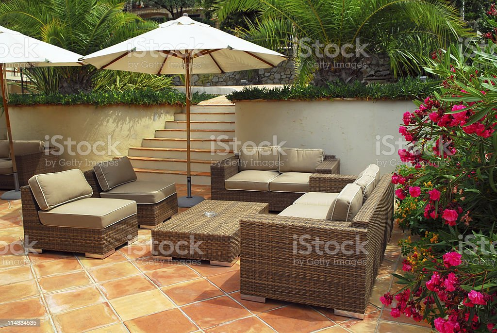 Patio of a villa stock photo