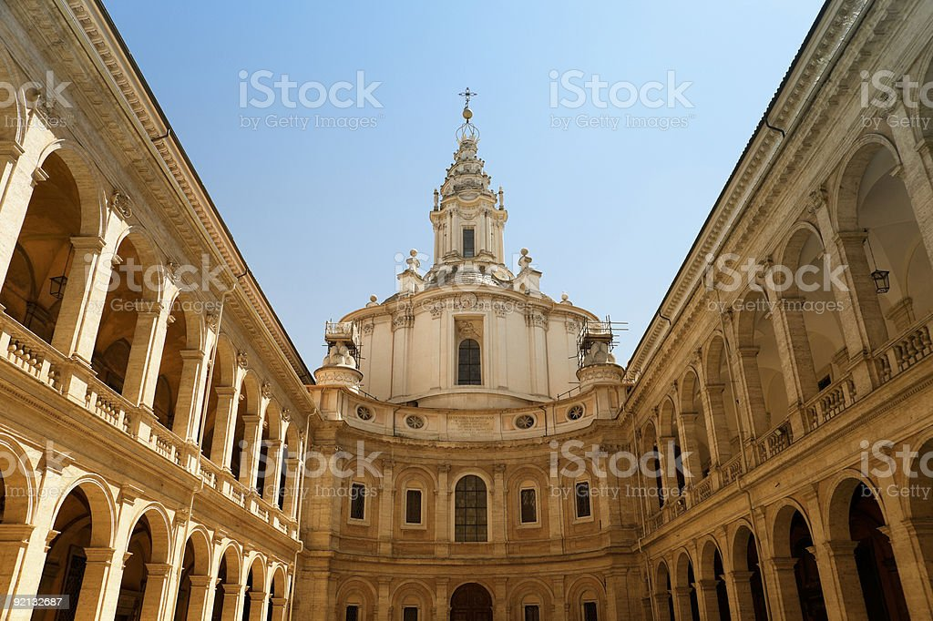 Patio of church in Rome. royalty-free stock photo