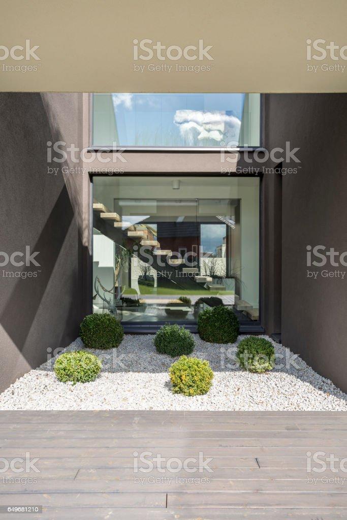 Patio of modern villa stock photo